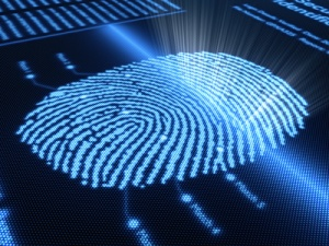 Fingerprint scanning technology on detail pixellated screen - 3d render -selective focus on scan line