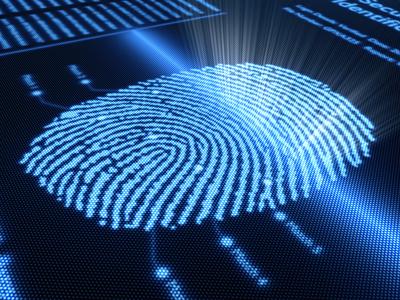 Fingerprint scanning technology on detail pixellated screen - 3d render -selective focus on scan line
